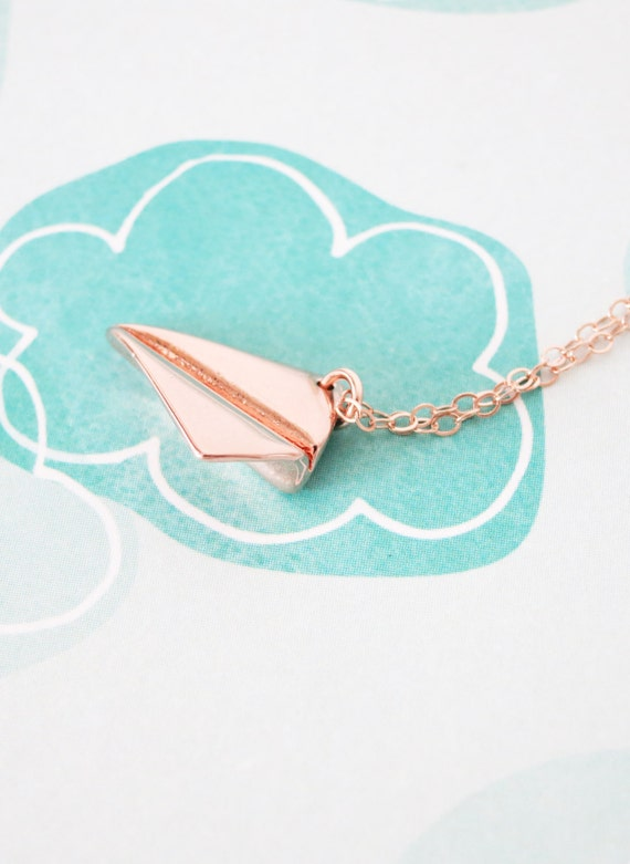Rose Gold Paper Airplane necklace -  simple rose gold FILLED chain with paper airplane, Childhood, Best friends, sister, cousin - N0005RG