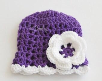 Purple Baby Girl Flower Beanie, Lace Newborn Baby Beanie,Purple Baby Hat, Baby Girl Crochet Hat, Newborn Outfit, Baby Girl Outfit, Baby Girl