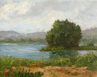 Original Oil Painting, impressionist, fine art, landscape, lake, Apennine Mountains, Francesco Sessa