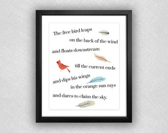"Bird and Feather ""I Know Why the Caged Bird Sings"" Printable. 8x10."