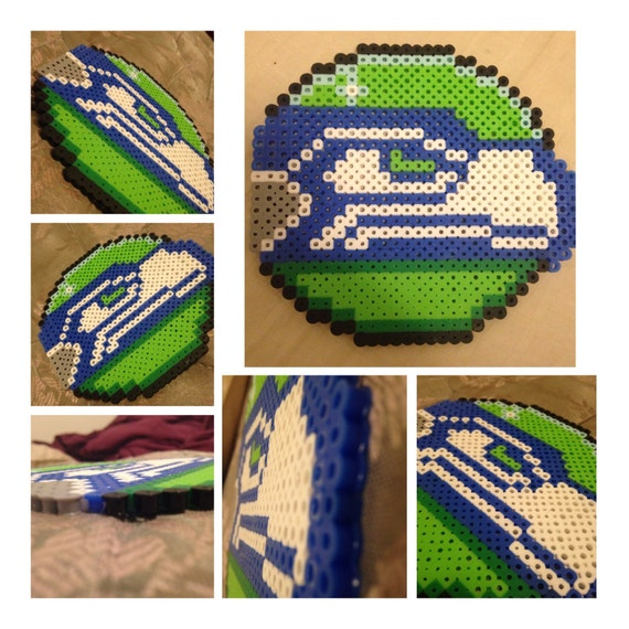perler bead seattle seahawks logo by pikameow on etsy