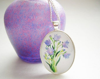 CLEARANCE 40% OFF BLUEBELLS Flower Blue Flower Necklace For Her Wearable Art Jewelry Garden Jewelry