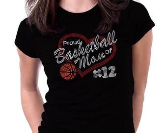Proud Basketball Mom of Number  Rhinestone Shirt