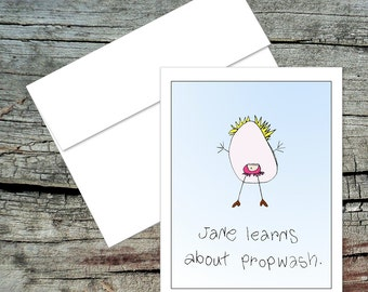 Jane Learns About Propwash Blank Notecard, Dick and Jane, Original Art, Handmade Card, Aviation Theme, Pilot Humor