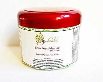 Organic Matcha Green Tea Avocado Hair Mask Deep Conditioner - Beau Vert Vegan  Natural Care Product - Bentonite Apple Vinegar  Horsetail