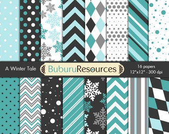 A Winter Tale - 16 digital papers for scrapbooking, cards, invitations and more