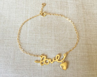 Love with heart charm bracelet, 14k gold filled, wedding gift