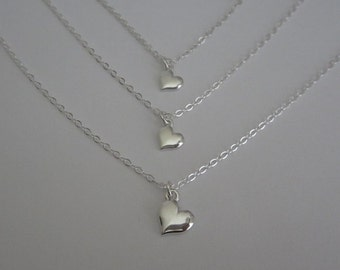 Sterling Silver Heart Necklace Set. Mother Daughter Necklaces. Sterling Silver. Flat Heart Charm. Family Jewelry Set. Sister Necklaces.