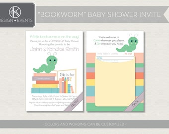 Bookworm Baby Shower Printable Invitations