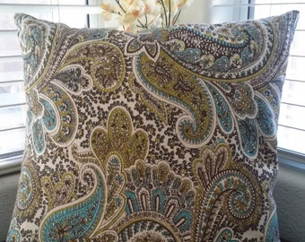 Premier Pint Paisley Chocolate Pillow Cover-Paisley Pillow Cover-Tan Pillow Cover-Brown Pillow Cover