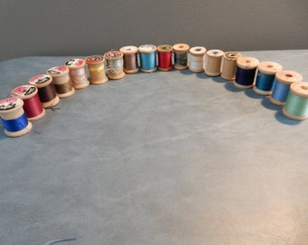 18 Vintage Wooden Spools and 4 Sewing Machine Bobbins