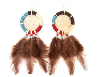 Deamcatcher Earring,Dreamcatcher,Feather Earring,Boho Jewelry,Tribal Jewelry,Woman Jewelry,Bridesmaid Jewelry