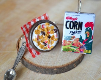 Cereal earrings,Corn flakes earrings,Cereal Bowl Earrings,Miniature food earrings,Miniature food jewelry