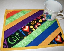 Cat mug rug - I love my cat mug mat - orange green blue black gold yellow place mat  - tea placemat - co worker gift