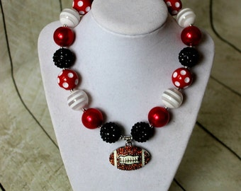 Bubblegum football necklace in red black and white chunky beads. Girls beaded necklace for football. Toddler Christmas cheerleading Falcons.