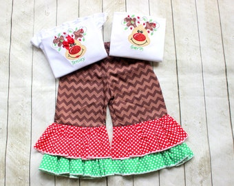 Sibling Christmas outfits Reindeer Matching brother and sister Christmas ruffle pants set girl Christmas chevron outfit boy