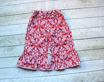 red damask Ruffle pants Girls holiday valentine's day christmas ruffle pants Toddler ruffle pants ruffle pants