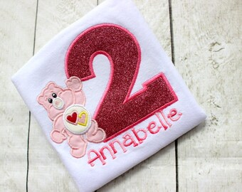 care bear birthday top birthday shirt birthday number love a lot pink care bear birthday shirt set outfit clothing girl toddler birthday