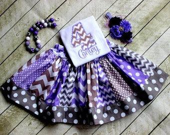 birthday outfit birthday skirt set chevron skirt number applique embroidered shirt girl birthday outfit gray and purple polka dot chevron