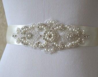 Wedding Belt, Bridal Belt, Sash Belt, Ivory Crystal Rhinestone Belt