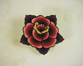 Traditional Rose Tattoo Brooch