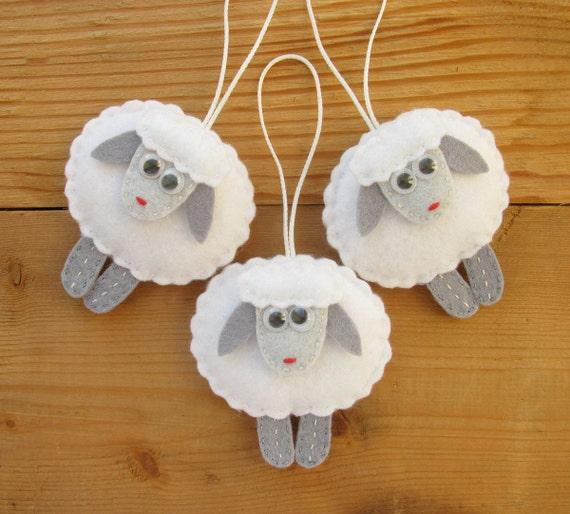 Felt sheep ornaments christmas tree decorations home decor for Home decor ornaments