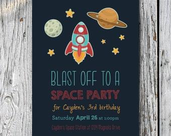 Rocket Ship Birthday Invitation- Digital File