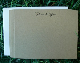Calligraphy Thank You Flat Note Cards 20 notecards with envelopes Bombshell font Kraft Masculine Neutral Simple
