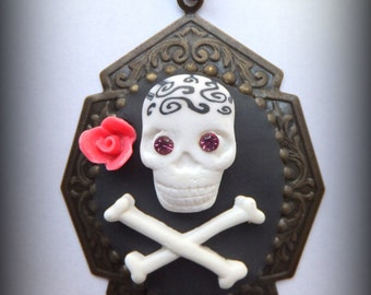 Sugar Skull and Crossbones Necklace