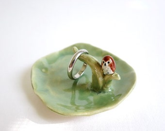 Tiny Ring Dish Ceramic Owl Jewelry Holder Green Trinket Dish Owl Branch Animal Jewelry Dish Owl Lover Gift Green Ceramic Owl Gift