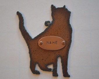 Rustic Rusty Rusted Recycled Metal CUSTOM Personalized Silhouette KITTY CAT Ornament or Magnet