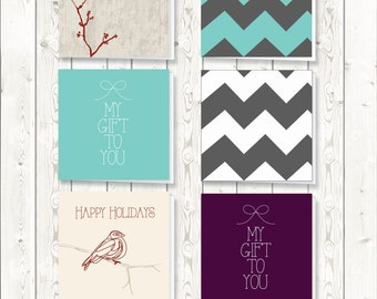 Set of 6 downloadable gift tags Christmas cards Holiday Tags Digital Download
