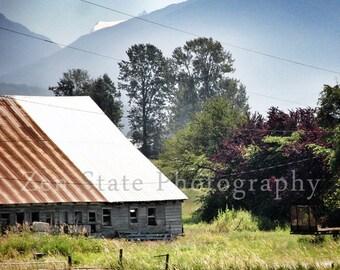 Rural America Photo Print. Landscape Photography Print. Barn Print. Square Format Photo Print, Framed Print, or Canvas Print. Home Decor.