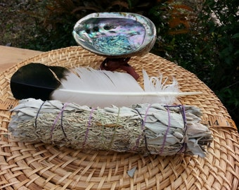 Large White and Blue Sage Smudging Kit ~ White Sage with Shasta Sage Bundle 8 ~ 9 inches, 5~6 inch abalone shell with tripod stand, feather