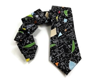 Math tie, geometry tie, equation tie, math teacher tie, math teacher gift, science tie, mathematics tie, geometry proofs, mens tie