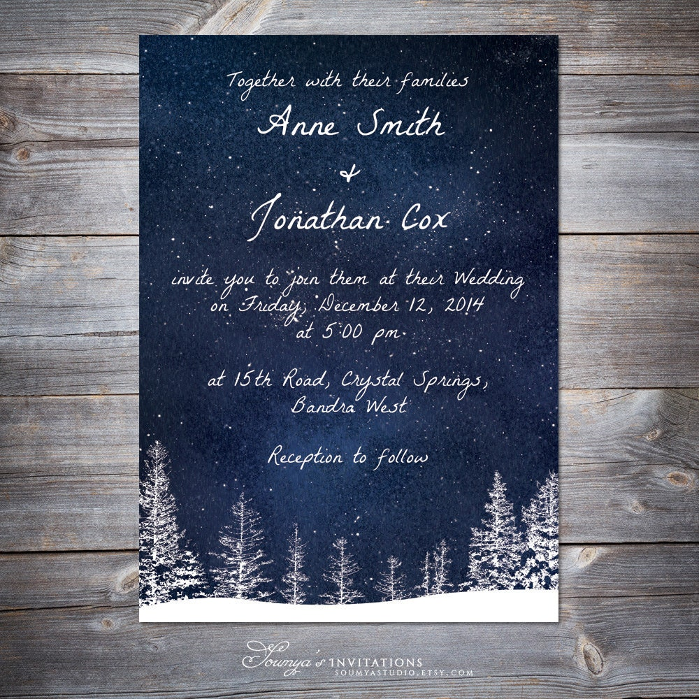 Snow Wedding Ideas: Winter Wedding Invitation Snow Wedding Printable Wedding