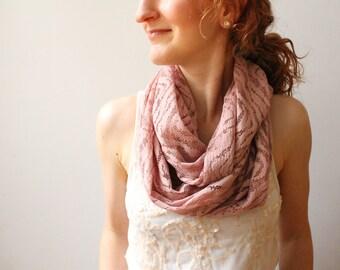 Dusty Rose Knit Infinity Scarf