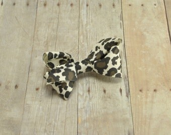 Mini Basic Boutique Bow, Infant Bow, Toddler Bow, Hair Clip, Animal Print, Hair Bow, Holiday Gift, Christmas