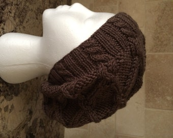 Cable Stitched Slouchy Beanie  - Hand Knit - Women/Teens