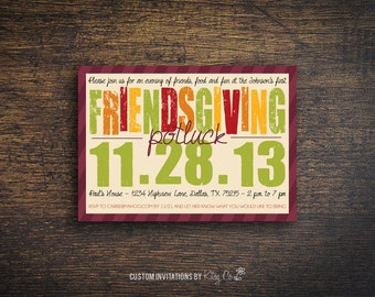 Friendsgiving Potluck Invitation | Thanksgiving | Printable Digital File