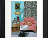 Mid Century Modern Eames Retro  Print from Original Painting Sleeping Cat Chair