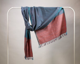 The 'Anila' Teal and Salmon Scarf from Weaving Destination 100% Organic Cotton