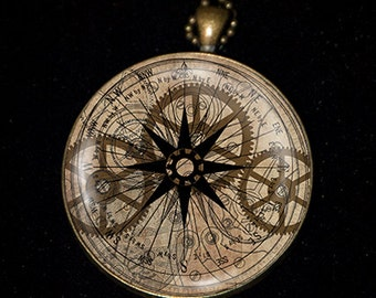 Nautical Steampunk Compass Necklace