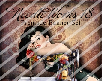 "Banner Set - Shop banner set - Premade Banner Set - Graphic Banners - Facebook Cover - Avatars - Bisiness Card - ""Needle Works 18"""