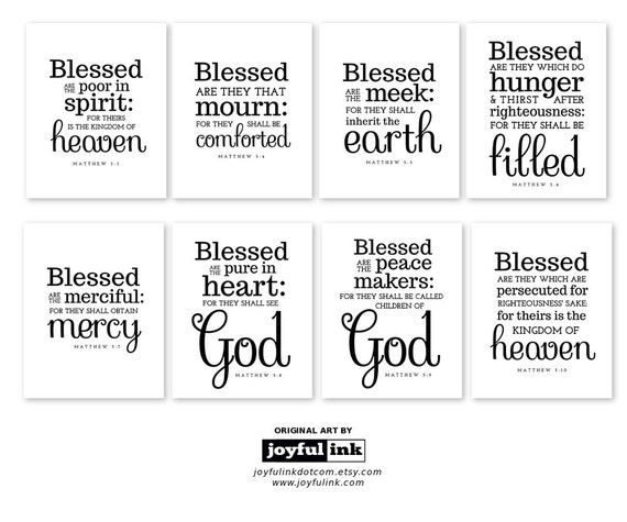 Fan image inside printable beatitudes