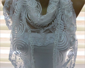 Lace scarf- white Scarf-gift Ideas For Her Women's Scarves-christmas gift- for her -Fashion accessories-shawls