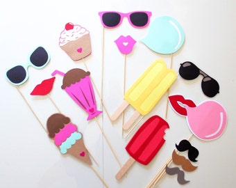 15pc Ice Cream Shoppe Photo Booth Props/Ice Cream/Sweets Party/Sumner Party/Beach Party/Ice Cream Social