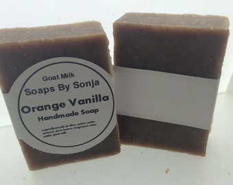 Orange vanilla Scented Handmade Soap, goat milk soap,on sale