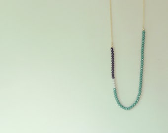Minimal green black and grey bead necklace. Crystal beads on champagne gold chain.