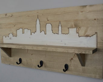 Wooden City Skyline - Entryway Shelf & Coat Rack